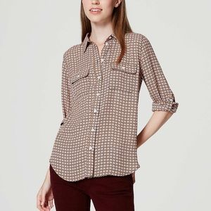 LOFT Mini Bloom Utility Blouse Roll Tab 3/4 Sleeve